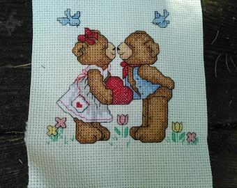 Kissing Bears Cross Stitch Sampler