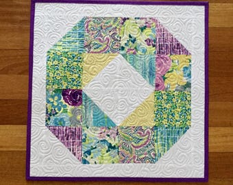 """Quilted table topper runner 21.5"""" square modern florals"""