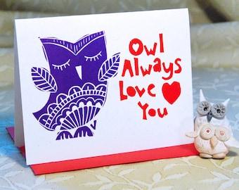 Owl Love Letterpress Card