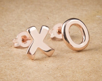 XO Earrings, Silver Earrings, Hugs and Kisses, Gift For Her, Solid Gold XO