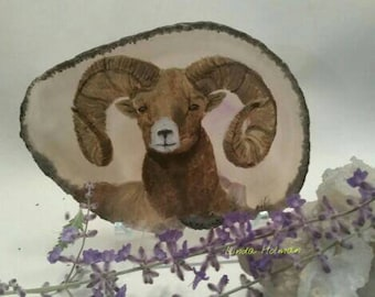 Bighorn sheep painting on agate stone slice
