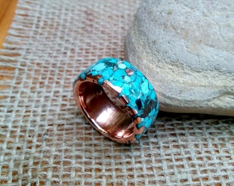 12mm Mixed Turquoise Copper Ring Band  3mm Thickness.
