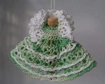 Green Variegated Crocheted Clothespin Angel