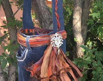 Upcycled Denim Bag, Denim Jeans Bag, Denim Boho Bag, Boho Bag, Denim Purse, Jeans Purse
