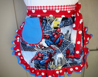Spiderman Aprons - Womens Aprons - Spider Man Apron - Super Hero Apron - Womens Half Spider Man Apron - Annies Attic Aprons
