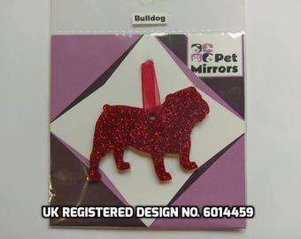 Glitter acrylic Bulldog Christmas decoration - 9 colour choices