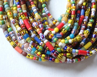 """Authentic African Christmas beads - 21"""" strand, handmade glass beads from Ghana, west Africa, African trade beads, assorted glass beads"""