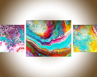 Abstract painting Acrylic pour fluid art fluid painting original artwork canvas art wall art by qiqigallery
