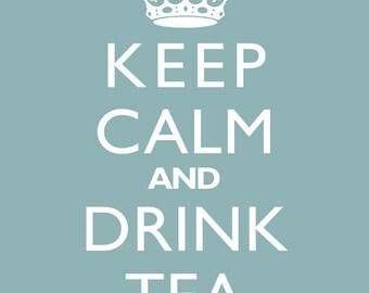 "Home Decor Wall Print ""Keep Calm And Drink Tea"" Retro Art"