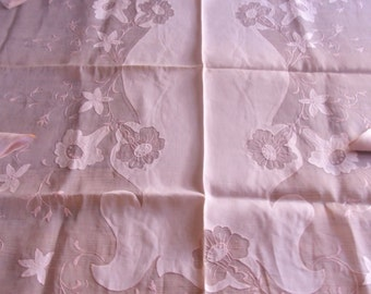 SALE Vintage 1940's Pink Floral Organza Hand Embroidered Appliqued Long Table Cloth With 8 Napkins, Tea, Wedding, Was 145.00 Now 129.00