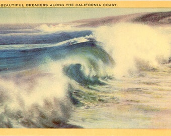 Southern California Coast Beautiful Breakers on Pacific Vintage Postcard (unused)