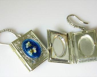 Book Locket Real Flower  Earrings,   Functional Lockets,   Pressed Flower Jewelry (3036), Resin