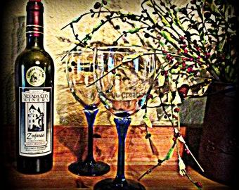 Wine - Wine glass - glass - wine photograph - wine glass photo - photograph - Glass photo - Wine bottle and glass still life - Wine Bottle