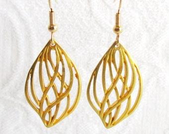 Ornate Gold Leaf Pierced Earrings