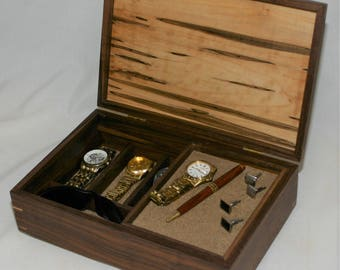 Men's combination Valet Box and Watch box - Walnut with an ambrosia maple top  #573 - sliding tray  - leather lined