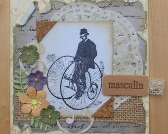 men's bicycle card vintage Cork wood burlap