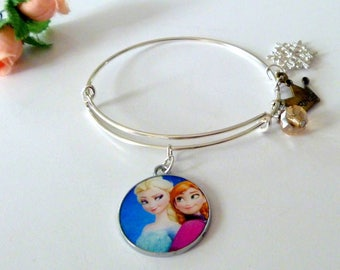 Elsa and Anna from Frozen Silver Plated Adjustable Bangle Bracelet