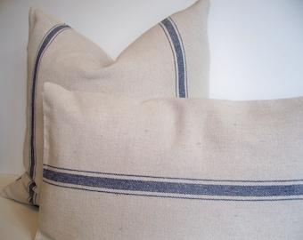 Blue Stripe Grainsack, Look Pillow Cover Blue Stripe Grainsack Pillow Blue Farmhouse Pillow 0
