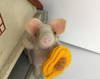 Piggy Pig with Yellow Dahlia - Hand Needle Felted wool- One of a Kind
