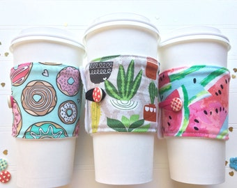 Coffee Cup Cozy, Mug Cozy, Coffee Cup Sleeve, Cup Cozy, Cup Sleeve, Reusable Coffee Sleeve - Donuts / Cactus / Watermelon  [92-94]