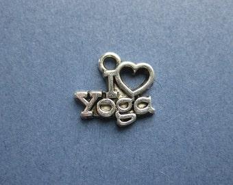 10 I Love Yoga Charms - I Love Yoga Pendants - Yoga  - Antique Silver - 14mm x 13mm. -- (N2-10764)