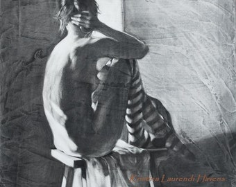 """Nude Female Figure wearing Striped Tights - """"The Center Ring"""" - Fine Art Reproduction of a Charcoal Drawing"""