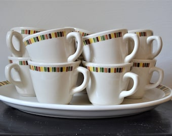 TEN SHENANGO CHINA Coffee Cups Mod Pattern Multi Color Border Rare Set