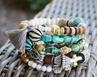 Boho Stacked Bracelet--Cuff Bracelet--Hippie--Gypsy Style--Repurposed--Organic Beads--Vintage--Eco Friendly--Upcycled--Trending--Turquoise