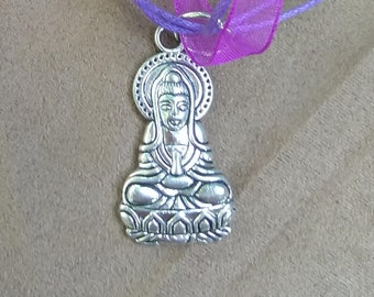 Purple Choker with Silver Buddha Pendant