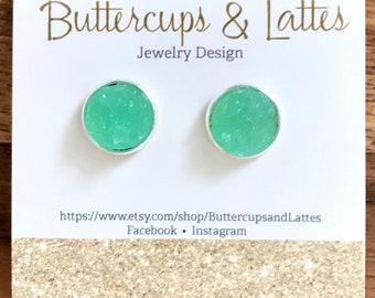 Seafoam Green Druzy Stud Earrings 12mm, Seafoam Earrings