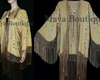 Embroidered Silk Fringe Jacket Flamenco Kimono Antique Gold Multi Maya Matazaro
