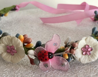 Lady Bug Flowers And Butterfly Fairy Birthday Crown