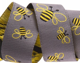 7/8-inch woven jacquard ribbon, bumble bees on grey