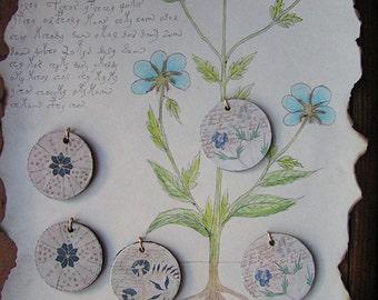 Voynich Manuscript Medieval-Style Wooden Pendants