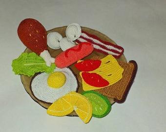 Play Food\ Breakfast Set \Crochet food\Ready to Ship\15pcs/eco-friendly/Crochet fried egg,Knitted cheese, Amigurumi