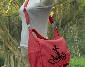 Red shoulder bag canvas messenger bag women diaper bag crossbody bag school bag work bag travel bag hobo bag, Christmas gift for her
