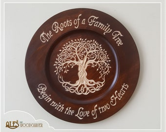 Family Tree plate - wood carving, hand carved basswood with dark mahogany stain, tree of life, wedding gift, anniversary