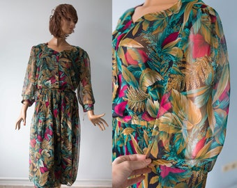 Vintage 80s Floral print Deadstock  dress/ green brown red fall chiffon day dress/M/L
