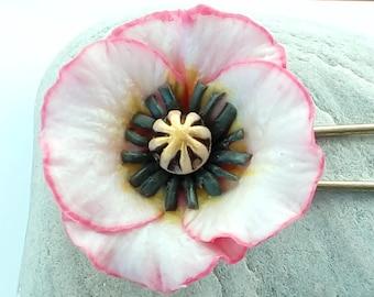 Pink poppy flower brooch