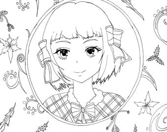 Black Butler, Anime Drawing, Hand Drawn Coloring Sheet, Black Butler Art, Black Butler Girl, Downloadable Coloring Page, Adult Coloring