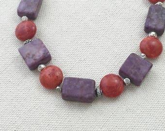 Purple and Orange Ceramic Statement Necklace