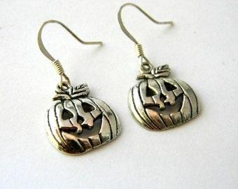 Cute Pumpkin Earrings Silver Color Dangle Earrings