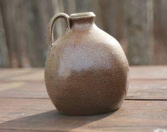 Salt Glazed Round Pottery Jug Seagrove NC Traditional Pottery Ready to Ship