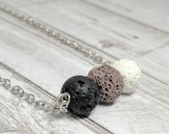 Essential oil necklace - lava stone necklace - lava stone bar necklace - oil diffuser jewelry - essential oil diffuser - earth lava stones