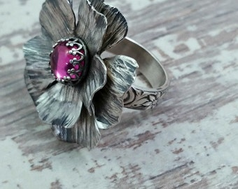 Cottage Rose Ring, Sterling & Pink Sapphire, Floral Ring, Statement Ring, Rose Ring, Nature Ring, Feminine, Romantic, Made To Order