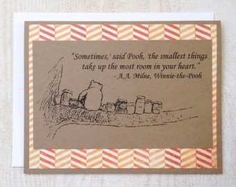 The Smallest Things - Winnie the Pooh Quote - Classic Pooh and Honey Note Card Orange Chevron Border