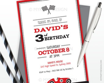 Car Race Party Invitation - Birthday Party - Vertical Layout - PRINTABLE JPEG or PDF file
