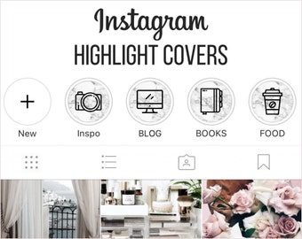 Instagram Story Highlights Icons Set of 56 Instagram Icons White Marble Instagram Story Template Graphic Bundle Instagram Highlights Graphic