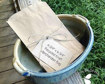 "4-3/4"" x 6-3/4""  Recycled Kraft Flat Merchandise Bags • Treat Bags • Candy Bags • Loot Bags • Weddings • Printed Back • Crafts • Gift Bags"