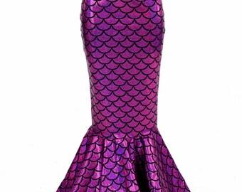 Girls Mermaid Skirt in Fuchsia Dragon Scale Full Length, High Waist, Sizes 2T 3T 4T and 5-12
